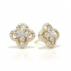 Or Jaune Prêts à Livrer Boucles d'oreilles Diamant