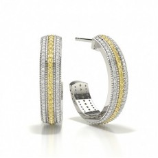 Pave Set Yellow Diamond Designer Earring