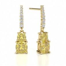 Cushion Yellow Gold Designer Earrings