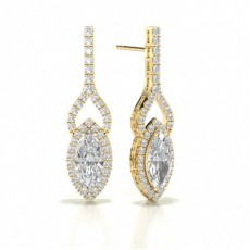 Marquise Yellow Gold Halo Earrings