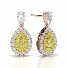 Pear Rose Gold Diamond Earrings
