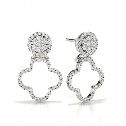 Round Halo Cluster Diamond Earrings
