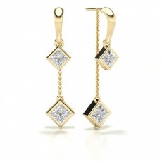 Princess Yellow Gold Journey Earrings