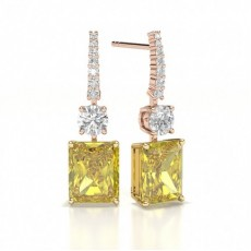 Emeraude Or Rose Boucles d'oreilles diamant jaune