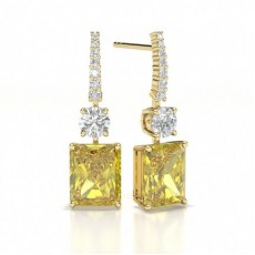 Emeraude Or Jaune Boucles d'oreilles diamant jaune