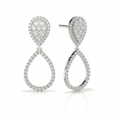 White Gold Cluster Earrings