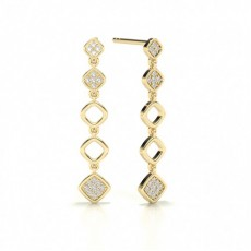 Round Yellow Gold Journey Earrings