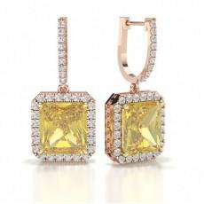 Or Rose Boucles d'oreilles Diamant Jaune