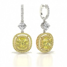 Cushion Platinum Diamond Earrings