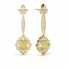 Oval Yellow Gold Designer Earrings