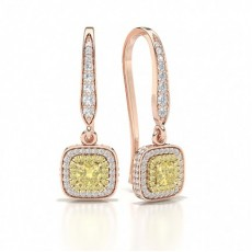 Cushion Rose Gold Designer Earrings