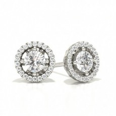 Round Halo Earrings