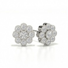Full Bezel Setting Round Diamond Cluster Earrings