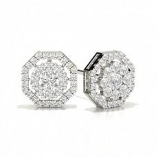 Silver Cluster Diamond Earrings