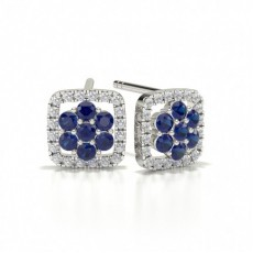 Round Stud Blue Sapphire Cluster Earrings
