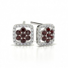 Round Stud Ruby Cluster Earrings