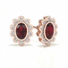 Boucles d'oreilles halo en or rose