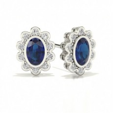 Center Bezel Halo Blue Sapphire Earring