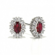 Center Prong Halo Ruby Earring
