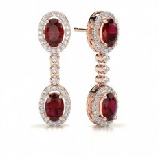 Rose Gold Drop Diamond Earrings