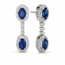 Oval Blue Sapphire Drop Diamond Earrings
