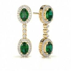 Oval Yellow Gold Drop Earrings