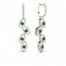 Emerald stone Round Diamond Hoop Earring