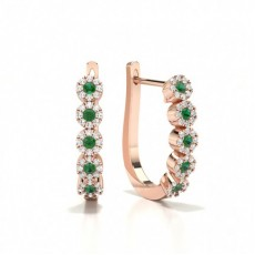 Round Rose Gold Diamond Earrings