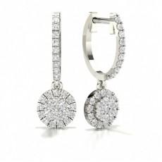 Boucles d'oreilles créoles diamant rond serti griffes