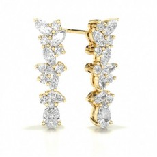 Marquise Yellow Gold Designer Earrings