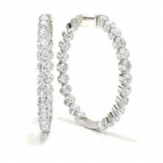 2 Prong Setting Round Diamond Hoop Earrings