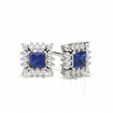 Princess Platinum Diamond Earrings