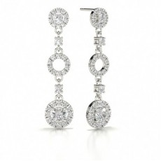 4 Prong Setting Round Diamond Journey Earrings