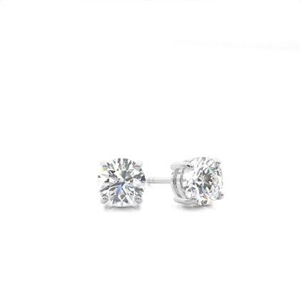 4 Prong Setting Round Diamond Stud Earring