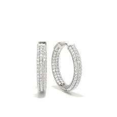 Silver Hoops Diamond Earrings