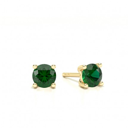 4 Prong Setting Round Emerald Stud Earring