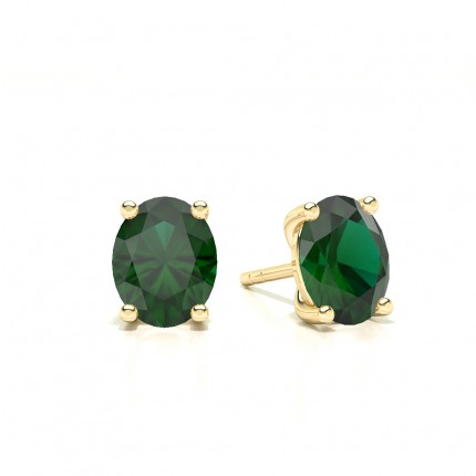 4 Prong Setting Oval Emerald Stud Earring