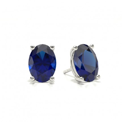 4 Prong Setting Oval Blue Sapphire Stud Earring