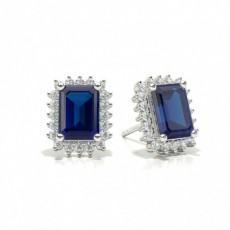 Prong Setting Blue Sapphire Stud Earring