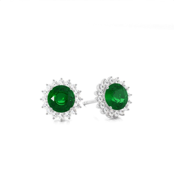 Prong Setting Round Emerald Stud Earring