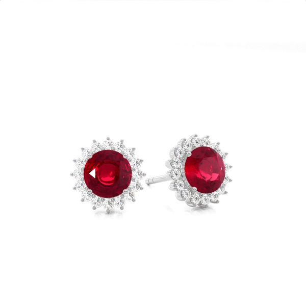 Prong Setting Round Ruby Stud Earring