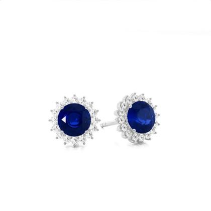 Platinum Sapphire Diamond Earrings
