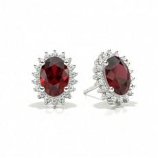 White Gold Ruby Earrings