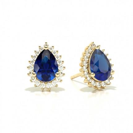 Prong Setting Pear Blue Sapphire Stud Earring