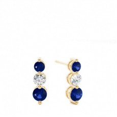 Yellow Gold Sapphire Earrings