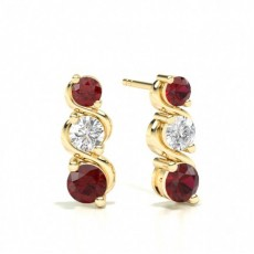Yellow Gold Ruby Earrings