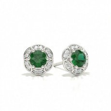 White Gold Emerald Diamond Earrings