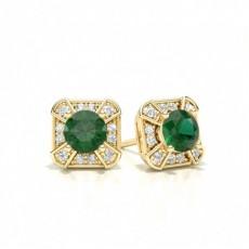 Yellow Gold Emerald Earrings