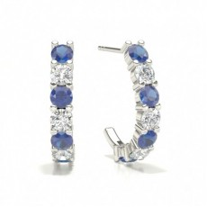 Prong Setting Round Blue Sapphire Hoop Earring