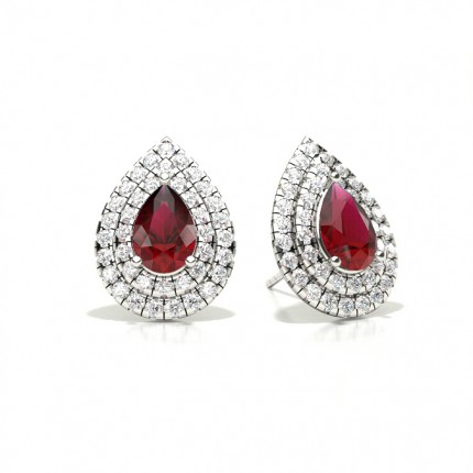 Prong Setting Pear Ruby Halo Stud Earring
